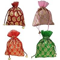 WS Wrap Shap Brocade Paisley Potli Batwa Bag Bridal Purse Women handbag Shagun Pouch Return Gifts
