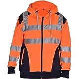 True Face Hi Vis Jacket Viz Hooded Sweatshirt High Visibility Reflective Tape Band Work Fleece Safety Top Plus Big Sizes
