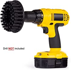 Inditrust cleaning drill brush black 5 inches wide with 10mm shaft for cleaning carpets tiles floors walls mats