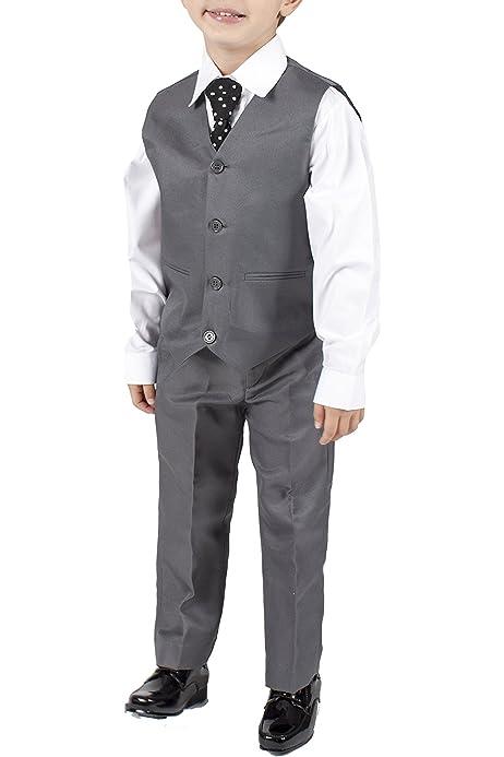 Los niños traje de chaleco gris 4 piezas: Amazon.es: Ropa y accesorios