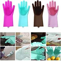 ZOQWEID Silicone Scrubbing Gloves, Non-Slip, Dishwashing and Pet Grooming, Magic Latex Gloves for Household Cleaning Great for Protecting Hands in Dishwashing (Multicolor)(1 Pair)