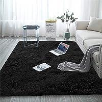 Blivener Soft Touch Area Rug Bedroom Anti-Skid Yoga Carpet Shaggy Rugs Fluffy Motley Tie-dye Carpets Black 60 x 120 cm