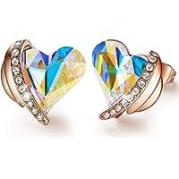 CDE Ohrringe für Damen Schmuck Geschenk, Rosegold Herz Damen Ohrstecker, verschönert mit Kristallen Weihnachten…