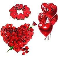 Jonami Bougies Romantiques et Pétales. 50 Bougies en Forme de Coeur + 1000 Pétales de Rose Rouges en Soie + 5 Ballons…