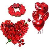 Kit Romantico di Candele e Petali. 50 Candeline a Forma di Cuore + 1000 Petali di Rosa di Seta + 5 Palloncini a Cuore Rossi -