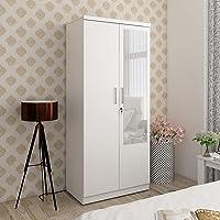 Home Centre Helios Reynan White Engineered Wood 2-Door Wardrobe with Mirror - 47 x 80 x 182 cm