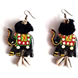Aayas Creation Hand Painted Handmade Traditional Antique and Unique Black Large Elephant Earrings for Girls and Women