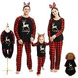 Borlai Pijamas Navidad para Familias Invierno Otoño Top+Pantalones Ropa de Dormir para Mamá Papá Niños Bebé Conjuntos Navideñ