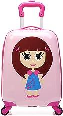 T-Bags 21L Polycarbonate Cute Doll 4 Wheel Trolley Bag(DL03P, Pink)