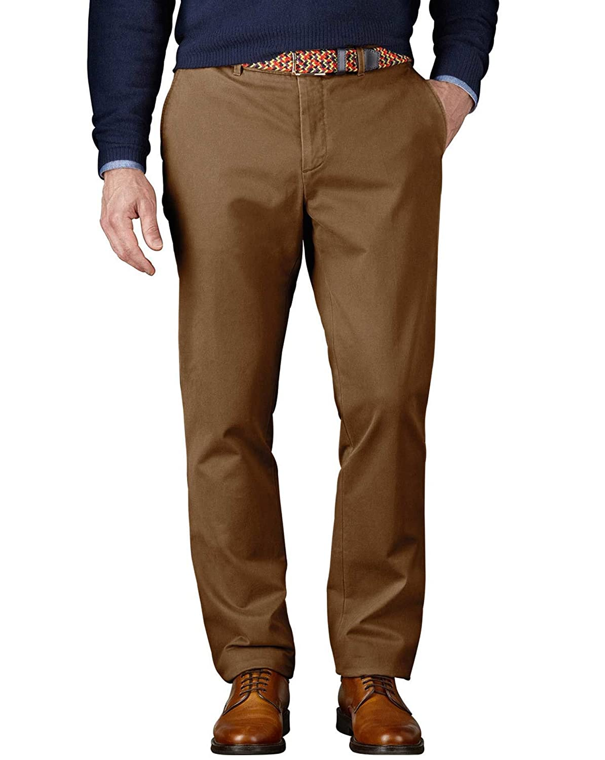 Charles Tyrwhitt Stone Classic Fit Flat Front Washed Cotton Chino Trousers