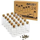 RUBY - 24stuks Kleine Glazen Flacons met kurk, 30 x 60mm (25ML) Mini Glazen Flessen en Kurksluiting, Bericht, Wens voor het H