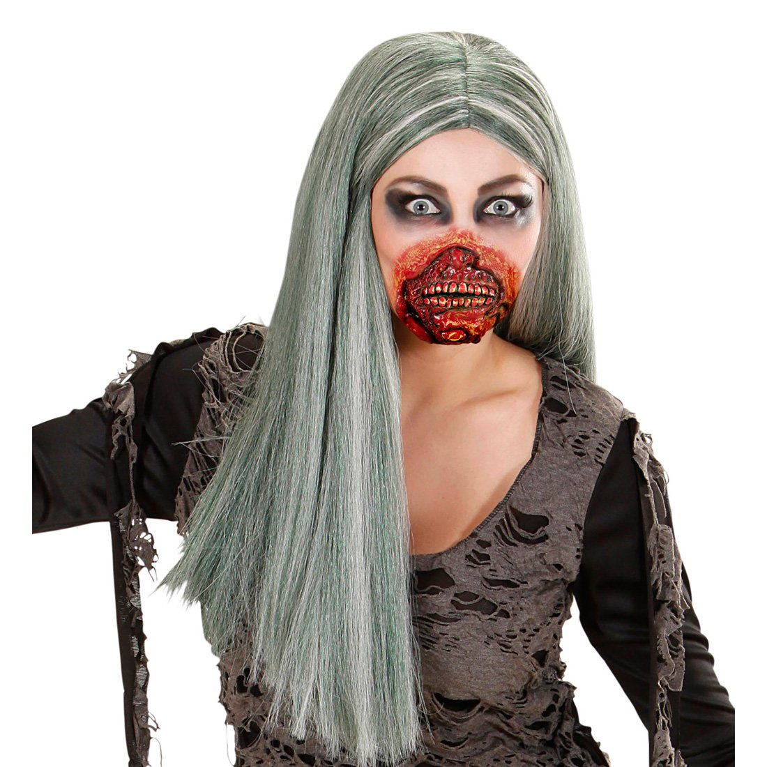 Amakando Blutiger Zombie Mund Horror Make up Latexmaske Halloween Fake Wunde Zombiemaske Halloween Schminken Gruselparty
