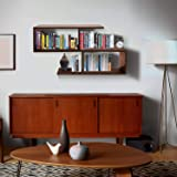 Klaxon S Shape Book Shelf/Wall Shelf and Storage Unit   Display Unit (Walnut)