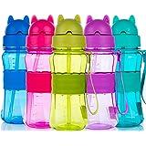 Botella de Agua Niños y Niñas Sin BPA Tritan Botella de Agua Deporte con Pajita y Correa para Infantil, Escuela, Corrida, Sen