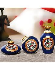 ExclusiveLane Terracotta Warli Hand-Painted Home Decorative Miniature Small Pots Set (9.4 cm x 9.4 cm x 8.9 cm, Blue, Set of 3)