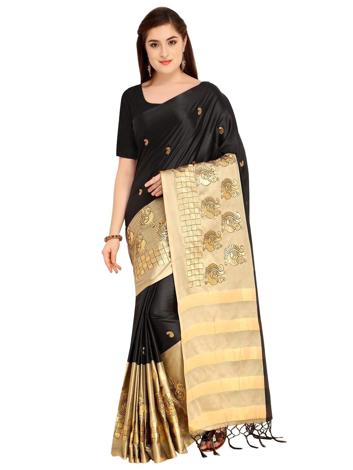 Kanchnar Women's Black and Beige Art Silk Embroidery Saree