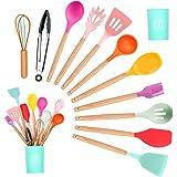 KEPEAK Gadgets en Silicone de Cuisine Set, Spatule Coloré Cuisine Antiadhésive avec Support, Poignée en Bois Outils de Cuisso