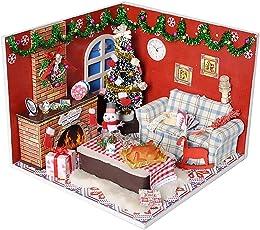 Puppenhaus Bausatz Zum Selbermachen - Holzbausatz Handgefertigt Puppen Haus Spielzeug - Miniatur Möbel Zubehör - LED Licht Kreatives Geschenk DIY Hütte Cabin Cottage - Halloween Weihnachts Geschenk