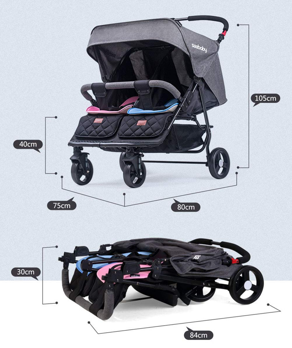 XUE Baby stroller, multi-function twins double foldable to lie flat with 5-Point Safety System and Multi-Positon Reclining Seat Extended Canopy Easy One Hand Fold XUE ∵ Wipeable and washable design for easier cleaning. ∵ Convertible high chair becomes booster and toddler seat. ∵ Keeps little ones secure with 3-point and 5-point harnesses. 6