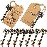 SHUNING 50 pezzi bomboniera antico chiave apri di bottiglia + tag, regali per Baby Shower per ospiti feste banchetti bar forniture (8CM)