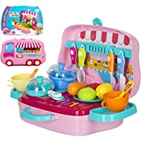 eErlik Latest Pretend Play Carry Along Kitchen Food Play Set for Girls (w/o Stickers)