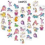 Unomor 144 Stück Einhorn Tattoos für Kinder Geburtstags Party, Einhorn Party Lieferungen Party Favors-24 Muster (2 Zoll x 2 Zoll)