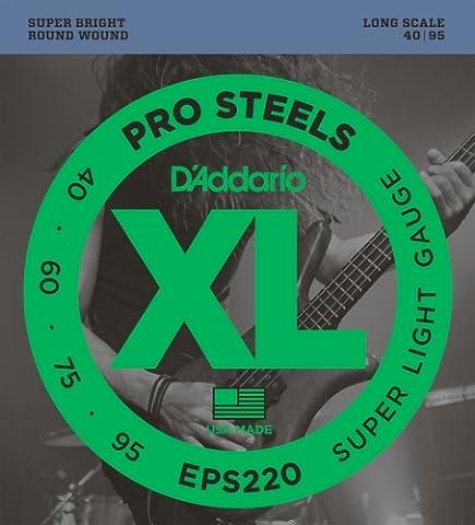 D'Addario Cordes pour basse D'Addario ProSteels EPS220, Super Light, 40-95, cordes longues