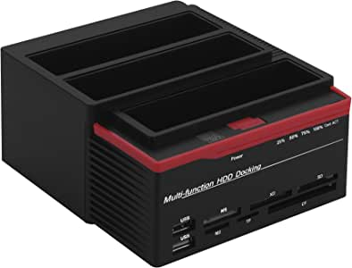 VBESTLIFE Docking Station per Disco Rigido, Docking Station HDD SATA/IDE da 2,5 Pollici da 3,5 Pollici Dual-bay USB 3.0(EU Plug)
