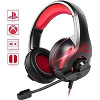 YINSAN Xbox One Headset, PS4 Headset Surround-Stereo Gaming Kopfhörer mit Mikrofon LED Licht, Over Ear Soft Memory Ohrenschützer, kompatibel mit PC /PS4 /Xbox One/Switch (Rot)