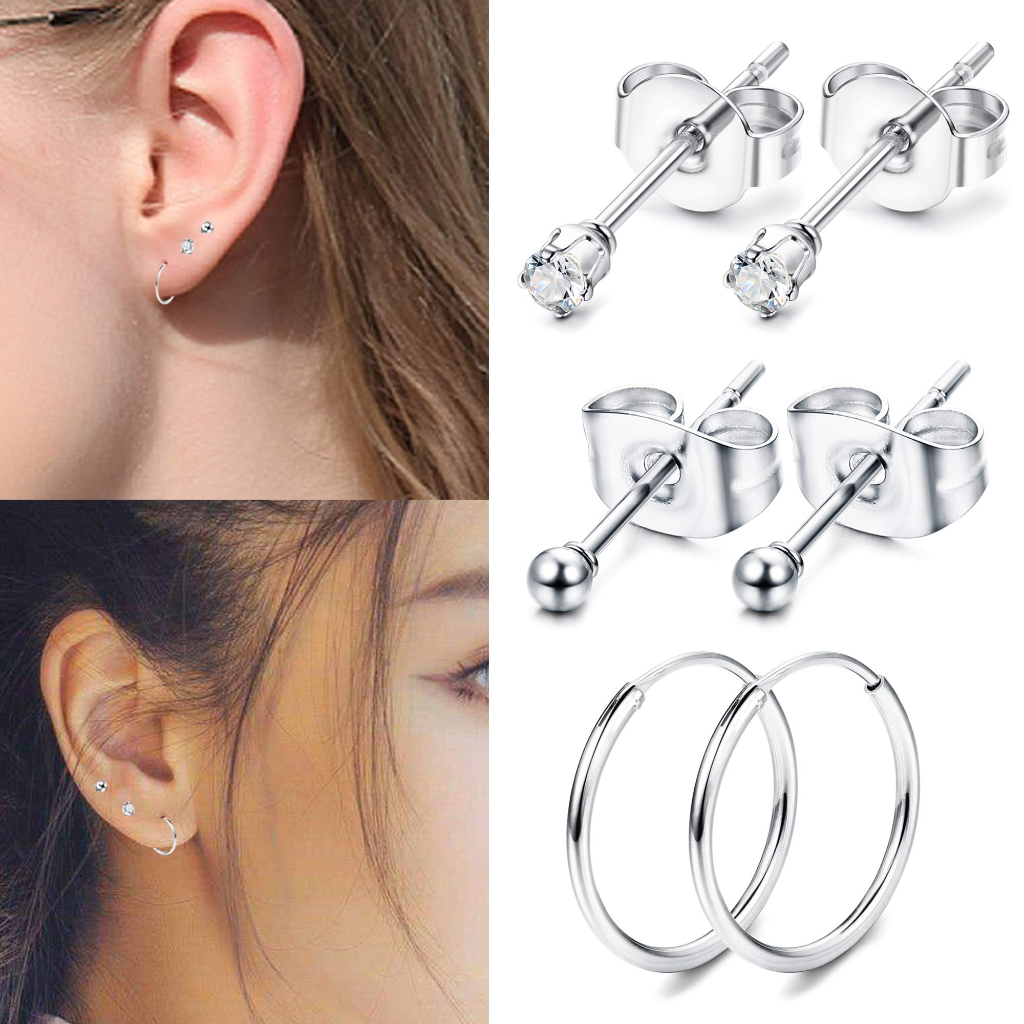 Yadoca 3 Pairs 925 sterling silver stud earrings for man women steel ball CZ stud hoop piercing earrings set