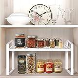 shiok decor™Kitchen Counter Shelves (White) Steel (Stackable countertop Shelves)
