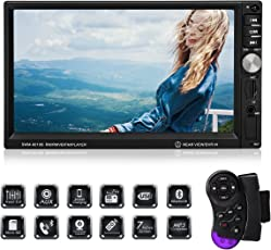Favoto Auto Radio MP5 Spieler 7 Zoll HD 1080P Touchscreen Doppel Din Autoradio Bluetooth FM Radio Video unterstützt Rückfahrkamera Mirror Link ( Android ) Bluetooth Micro SD AUX U-Disk( Maß:178mmx102mmx58mm )