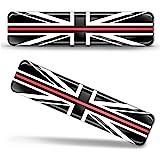 Biomar Labs® 2 pcs 3D Gel Pegatinas Bandera Nacional Gran Bretaña del Reino Unido UK Flag Union Jack Thin Red Line Silicona A