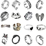 16 Pcs Silver Plated Frog Rings Set, Cute Animal Open Rings Pack, Vintage Goth Y2k Matching Rings, Cute and Stylish, Snake, H
