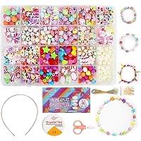 Ucradle Perles pour Enfant, 550pcs Bracelet Bricolage Perles Set Colliers Perle Enfants pour Alphabet Poney, Kit de…
