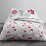 TODAY MAWIRA Rosa-Parure HC3 Housse de Couette zippée 220x240 + 2 taies d'oreiller 100% Coton, COTON-57 Fils, Gris Rose, 220