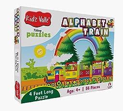 Kidz Valle Alphabet Train 4 Feet Long 56 Piece Tiling Puzzles (Jigsaw Puzzles, Puzzles for Kids, Floor Puzzles), Puzzles for Kids Age 4 Years and Above. Size: 28.5 cm x 28.5 cm