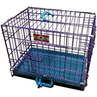 Lal Pet Metal Cage for Dog and Puppy (Blue, L46 x W40 x H37 Cm)