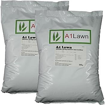 A1Lawn, 20Kg Ultimate Spring/Summer Lawn Grass Fertiliser (10-8-4+4Mgo+2Fe+8Cao+Seaweed) - 571 Sq Metres