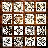 16 Pcs Pochoir Mandala de Peinture, Réutilisables Pochoir Aerographe Peinture, Motif Mandala Découpe Laser pour Cartes Scrapb