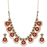 Zaveri Pearls Gold Tone Traditional Temple Choker Necklace Set For Women-ZPFK8983