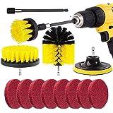 3 st borrborstfäste och 8 st skrubdynor för borr och elektrisk skruvmejsel, Kagni rengöringsborste Power Scrubber set med en