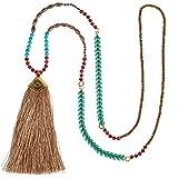 C·QAUN CHI Collar de Cuentas de Cristal Hecho a Mano Collar con Colgante de Borla Multicolor Collar de Hilo de Verano Bohemio