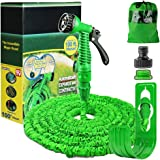 100FT Expanding Garden Water Hose Pipe with 7 Function Spray Gun Expandable Flexible Magic Hose Anti-leakage Lightweight Easy