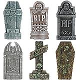 PRETYZOOM 6 piezas falso búho Halloween lápidas animatronic lápidas decoración pintura cabina - animatronics oso valla para t