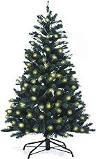 Lönartz® Naturgetreuer künstlicher Weihnachtsbaum PE-Spritzguss mit Beleuchtung (166 LEDs, 7,5W), Höhe: 150cm / Ø100cm (PE-BM150)