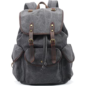 eece958d46 BAOSHA CN-01 Stylish Canvas Leather Casual Daypack School College Backpack  Unisex (Grey)