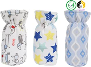 Aarushi (with device) Soft Feeding Mix Print Bottle Cover (Multicolour) - Pack of 3