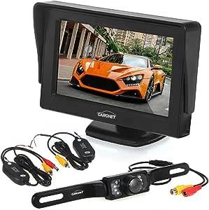 Caméra De Recul Voiture Auto CARCHET Plaque 7Leds Etanche IP68 Avec 4.3 Pouces Ecran TFT Et Récepteur Émetteur Sans Fil