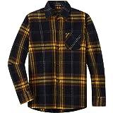 Spring&Gege Camisa casual de manga larga a cuadros de franela con botones para niños (5-14 años)